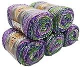 Alize Punto Anti Pilling 5 x 100 Gramm Mosaik Wolle Tweed-Effekt mit farbigen Tupfern, Effektwolle...