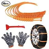 Per Anti-Rutsch Schneeketten Set mit Handschuhen Nylon-Notfall-Anti-Rutsch-Kette-Auto-Riemen-Riemen...