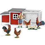 Schleich Figuren-Spiel Set - Farm Life Hühnerstall Set - Hühnerstall 42191 Hahn 13825 Henne 13826