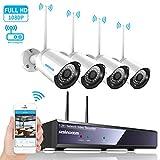 4CH 1080p HD Überwachungskamera System mit WIFI NVR / Wlan IP Kamera  Überwachungskamera Set 4Pcs...