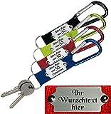 Ein hochwertiger Schlüsselanhänger / Karabinerhaken mit Gravur nach Wunsch.