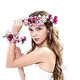 Ever Fairy Frauen Mädchen Blumen Kranz Krone Blumen Girlande Stirnband Handgelenk Band Set für...