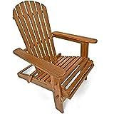 Deuba Sonnenstuhl Adirondack | Akazienholz klappbar abgerundete Armlehnen | Deckchair Liegestuhl...