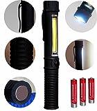 Tragbare Akku LED Arbeitsleuchte Werkstattlampe Taschenlampe und COB Flutlicht mit Befestigungs-Clip...