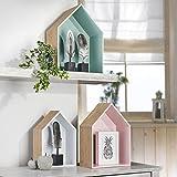 3-er Set Holzhaus-Regal | stehend oder hängend | farbig – bunt | Wandregal | Wanddeko | Regal in...