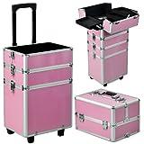 Yahee Alu Beauty Case Rollkoffer 4 in 1 Kosmetikkoffer Schminkkoffer Make-up Friseur Kosmetikkoffer...