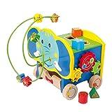 Motorikwürfel Aktiv-Elefant aus stabilem Holz, mit fünf Seiten farbenfrohem Spielspaß, schult...