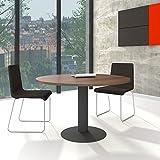 Weber Büro OPTIMA runder Besprechungstisch Ø 120 cm Nussbaum Anthrazites Gestell Tisch Esstisch