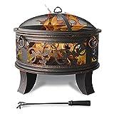 Stahl Feuerschale 66cm Feuerstelle schwarz Klassik Stil Feuerkorb robust Schürhaken Standbeine...