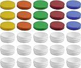 15 Salbendöschen, Creme-döschen, Salbenkruke flach, 12ml Inhalt mit farbigen Deckeln - MADE IN...