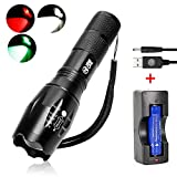 3 Color LED integrierte Chips Tactical Taschenlampe, rot + grün + weiß 3 in 1 Zoomable Torch w...