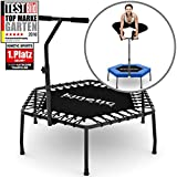 Kinetic Sports Fitness Trampolin Indoor Mini Trampolin Ø 110 cm, höhenverstellbarer Haltegriff,...