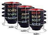 5-tlg. Suppenschalen SET mit Ständer - Keramik - 4 Schalen 700 ml - 3 versch. Modelle -...