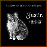 Grabstein Katze 40x40x1 cm - schwarzer Granit inklusive Foto & Text Gravur nach Ihren Wünschen -...