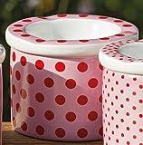 Sturmaschenbecher Porzellan rosa, rot groß gepunktet 7 cm Wind-Aschenbecher