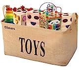 GIMARS Große Spielzeugkiste 20 Zoll Spielzeug Aufbewahrungskiste Spielzeugbox Jute faltbar...