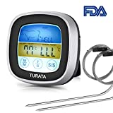 TURATA Digitales Bratenthermometer, Grillthermometer BBQ Digital Thermometer Doppelsonde Berühren...