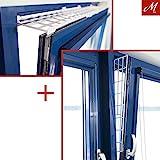 M.Versand Kippfenster-Schutzgitter Set, Kunstoff, 2-tlg, oben/unten ausziehbar, weiß - 75-125x16...