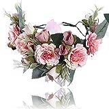 Boho Einstellbar Blume Stirnbänder Krone - Handarbeit Haarkranz Halo Blumengirlande Krone...