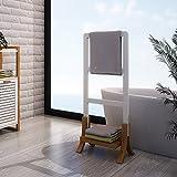 Style home Badezimmer Handtuchständer Handtuchhalter Bambus MDF Wasserfest Weiß SH29M11012-WIE