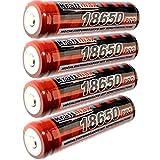 4x Kraftmax 18650 Pro Akku mit PCB Schutzschaltung - speziell für LED Taschenlampen ( 3,7V / 9,62...