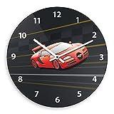 Wanduhr mit Racing-Motiv für Jungen | Kinderzimmer-Uhr | Kinder-Uhr