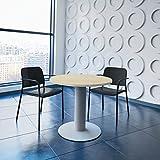 Weber Büro OPTIMA runder Besprechungstisch Ø 80 cm Ahorn Silbernes Gestell Tisch Esstisch...