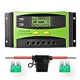 Sunix 30A 12V / 24V Solarladeregler, verbesserter intelligenter Solarladeregler mit...