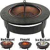 RayGar 3in 1Feuerstelle, Grill, rund, aus Metall, Outdoor Garten Feuerstelle und Schutzhülle...