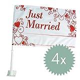 Autoflagge 'Love is in the air', 4 St. - wunderschöne Autoflagge mit 'Just Married' Schriftzug und...