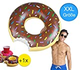 XXL Aufblasbarer angebissener Donut mit Biss Schwimmring Schwimmreif Luftmatratze Schwimmkissen für...