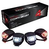4er Silikonleuchte LED Set - (2x LED vorne weiß & 2x LED rot), Sicherheitsbeleuchtung...