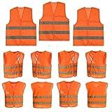 10 Stück Warnweste Sicherheitweste Unfall-weste Orange KFZ PANNENWESTE Sicherheit-Warnweste Ideal...