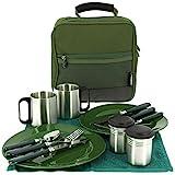 13-teiliges Deluxe G8DS® Campinggeschirr, Tassen und Besteck für 2 Personen Kochgeschirr...
