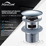 Auralum Ablaufgarnitur mit Überlauf Pop Up Ventil Ablaufventil für Waschbecken Waschtisch...