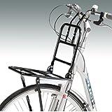 Front-Gepäckträger in schwarz für Fahrräder mit 24' bis 28' Radgröße, Montage vorne