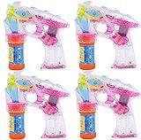 Partyjoker 4 Stück Seifenblasenpistole mit LED | Sound | Flüssigkeit Seifenblasenmaschine Bubble...