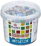 RAYHER Glas Mosaiksteine 1x1cm, Eimer 1kg (ca. 1300 Stück), Bunt gemischt