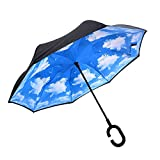 AUTOPkio C-förmigen Hands Free Handle Umgekehrten Umbrella, Double Layer Umgekehrten Standing...