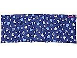 Körnerkissen Dinkelkissen Wärmekissen Herzen blau 50x20cm 100% Baumwolle Wendekissen