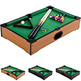 Mini Pool Billardtisch inkl. Zubehör (2 Queues, Kugeln, Dreieck, Kreide), 3 Dekore, Maße:...