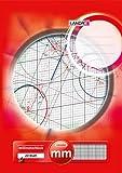 LANDRE 100050433 Millimeter-Block A3 80 g/m² Millimeter-Papier 20 Blatt Kopfgeleimt Linienfabe rot...