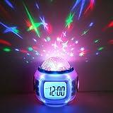 Decdeal LED Sternenhimmel Kinderwecker Kalender Thermometer Wecker mit Hübschen Klängen und...