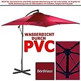 WASSERDICHTER Ampelschirm 2,5m PVC eckig Sonnenschirm Wasserfest Schirm 250 cm (Bordeaux)