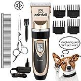Oneisall Haustier Grooming Clipper Kits Geräuscharmer Haarschneidemaschine Haarschneider...