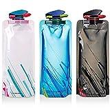 Faltbarer Wasser-Flaschen-Satz von 3, MAXIN Flexible zusammenklappbare Wiederverwendbare...
