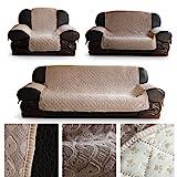 HDM Rutschfest 3-Sitzer 171x169 cm Sofaüberwurf in beige, Rückseite mit Silikagel in Fuß-Muster,...