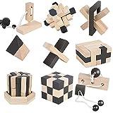 B&Julian  3D IQ Holzpuzzle 9 Mini Puzzle Set aus Holz Knobelspiele Geduldspiel Rätselspiel...