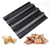 ilauke Baguetteblech Baguette Backblech Baguetteform mit Antihaftbeschichtung für Backen (4 fach)