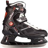 Nijdam Erwachsene Eishockeyschlittschuhe Icehockey Skate, Mehrfarbig (Schwarz/Silber/Rot), 44